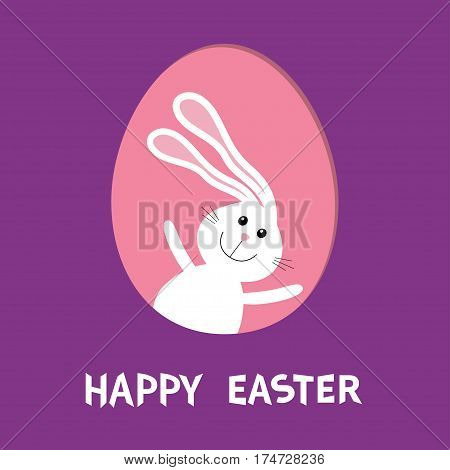 Happy Easter. Bunny rabbit hare with big ears inside painted egg frame window. Cute cartoon character. Baby greeting card. Violet background. Flat design. Vector illustration