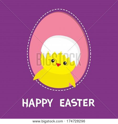 Happy Easter. Chicken bird with shell on head inside painted egg frame window. Dash line contour. Cute cartoon character. Baby greeting card. Violet background. Flat design. Vector illustration