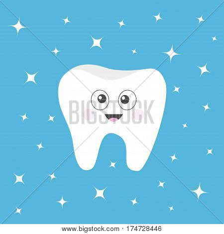 Healthy tooth icon with smiling face and big eyes. Cute cartoon character. Oral dental hygiene. Children teeth care. Shining staers effect. Blue background. Flat design. Vector