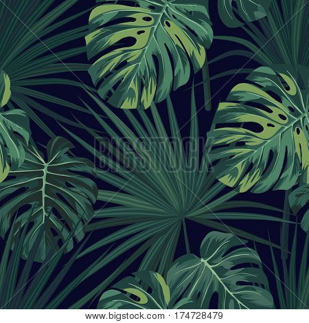 Dark tropical background with jungle plants. Seamless tropical pattern with green sabal palm and monstera leaves. Vector illustration.