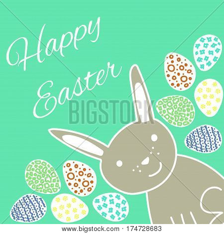 Happy Easter greeting card with cute rabbit and colored eggs