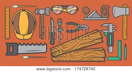 Woodworker workplace vector illustration. Carpentry professional service, forest product, wood industry instrument, woodworking tool set. Plane, hammer, ax, saw, ruler, pliers, chisel, safety helmet.