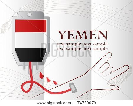 blood donation design made from the flag of Yemen conceptual vector illustration.