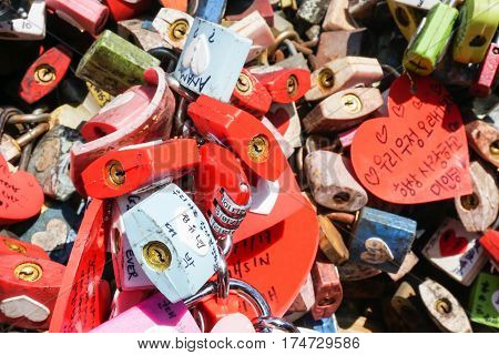 close up colorful locks of love taken at N Seoul Tower on 14 February 2017
