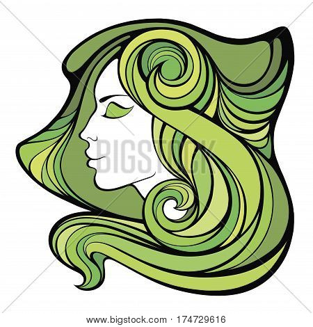 Vector decorative spring portrait of shaman girl with green long hair isolated on white background.