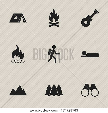Set Of 9 Editable Travel Icons. Includes Symbols Such As Blaze, Gait, Bedroll And More. Can Be Used For Web, Mobile, UI And Infographic Design.