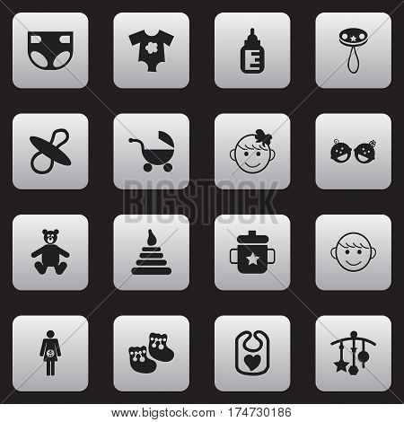 Set Of 16 Editable Infant Icons. Includes Symbols Such As Nappy, Tower, Pinafore And More. Can Be Used For Web, Mobile, UI And Infographic Design.