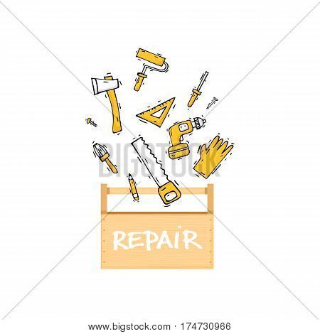Toolbox. Building, construction and home repair tools. Instruments, engineering tools, industry equipments, painting. Hand drawn vintage style. Flat design vector illustration.