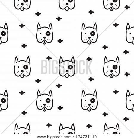 Dog scandinavian seamless vector monochrome pattern. Black and white puppy head breed with crosses background for textile fabric print and wallpaper.