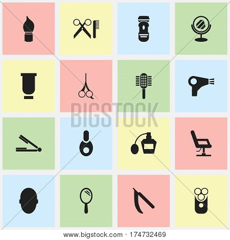 Set Of 16 Editable Hairdresser Icons. Includes Symbols Such As Peeper, Blade, Cutter Apparatus And More. Can Be Used For Web, Mobile, UI And Infographic Design.