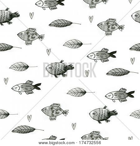 seamless pattern with hand drawn fishes and leaves