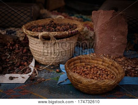 Seeds of moroccan argan tree on an african market