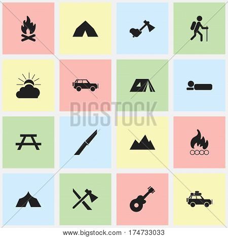 Set Of 16 Editable Trip Icons. Includes Symbols Such As Tomahawk, Fever, Musical Instrument And More. Can Be Used For Web, Mobile, UI And Infographic Design.