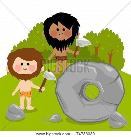 Vector cartoon illustration of two cavemen carving a big stone and creating a wheel.
