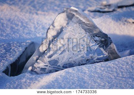 ice floe on Lake Baikal winter nature. Sunset light