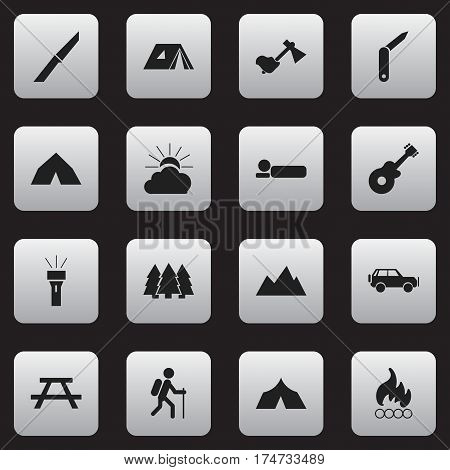 Set Of 16 Editable Camping Icons. Includes Symbols Such As Knife, Pine, Bedroll And More. Can Be Used For Web, Mobile, UI And Infographic Design.