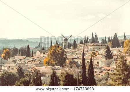 View over historical district Yemin Moshe from the Old City of Jerusalem, Israel.