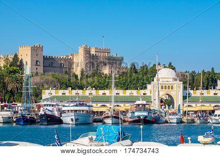 Boats in Mandraki Harbour. Rhodes Town Rhodes Greece