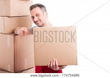 Mover Guy Holding And Pointing A Big Cardboard Box