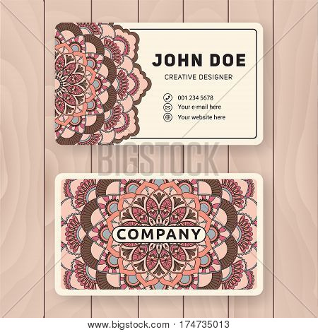Creative useful business name card design. Vintage colored Mandala design for personal name card visiting card or tag. Round ornament vector illustration.
