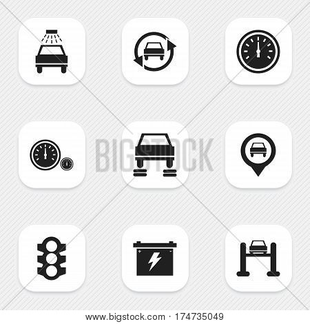 Set Of 9 Editable Traffic Icons. Includes Symbols Such As Auto Service, Car Lave, Speed Control And More. Can Be Used For Web, Mobile, UI And Infographic Design.