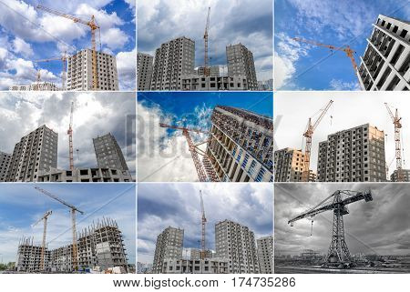 Highrise cranes and building of new apartments