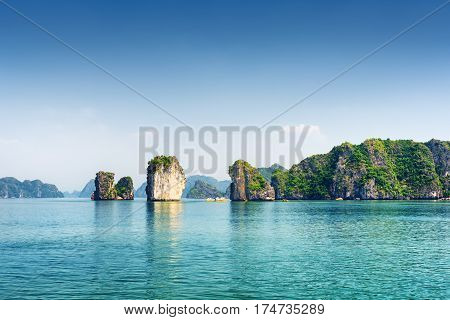 Azure Water Of The Ha Long Bay, The South China Sea, Vietnam
