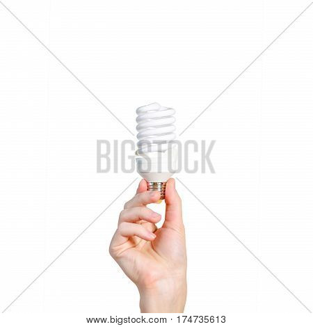 Closeup Of Man's Hand Holding Energy Saving Lamp. Recycling, Electricity, Environment And Ecology Co