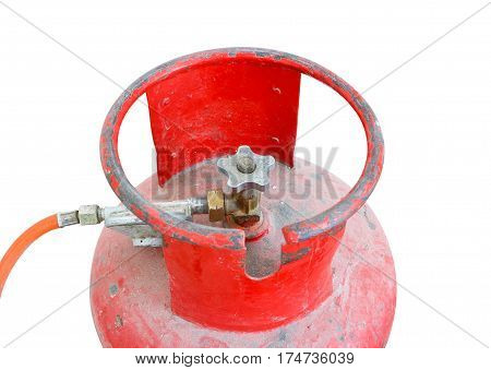 Propane Red Tank Valve. Isolated On White Background.