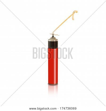 Red And Black Polyurethane Expanding Foam Glue Gun Applicator. Balon Foam. Isolated On White Backgro