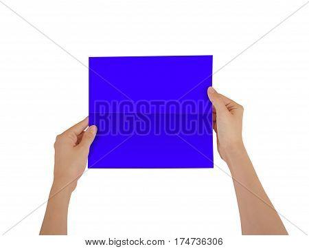 Hands Holding Blank Blue Brochure Booklet In The Hand. Leaflet Presentation. Pamphlet Hand Man. Show