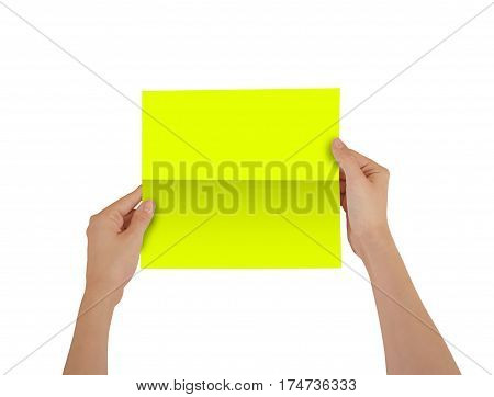 Hands Holding Blank Yellow Brochure Booklet In The Hand. Leaflet Presentation. Pamphlet Hand Man. Sh