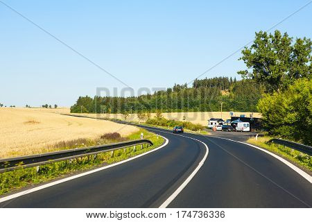 GERMANY - OCTOBER 14 2016: View of driver looking at cars on German Autobahn in Bavarian Alps October 18 2016