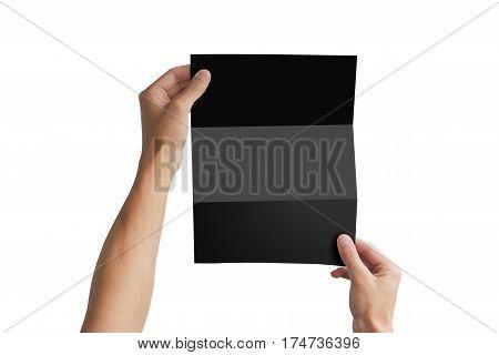 Hand Holding Black Blank Brochure Booklet. Leaflet Presentation. Pamphlet Hand Man. Man Show Offset