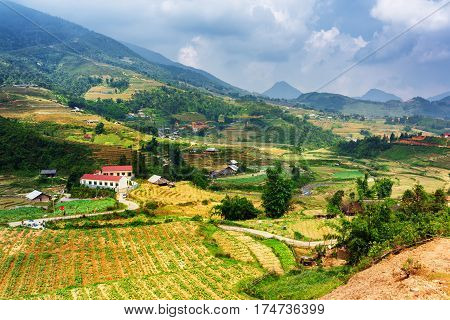 View Of Village And Rice Terraces At Highlands Of Sa Pa, Vietnam
