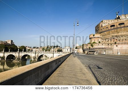 ROME ITALY - AUGUST 26 2016: View to Ponte Sant'Angelo bridge and Castel Sant'Angelo Rome Italy August 26 2016