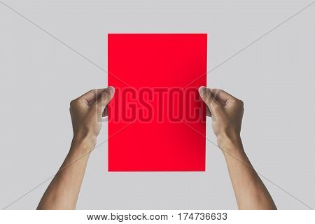 Hands Holding A4 Paper In The Hand. Leaflet Presentation. Pamphlet Hand Man. Man Show Offset Paper.