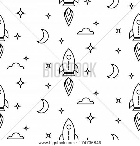 Space rocket scandinavian line style seamless pattern. Little dreamer black and white repeat background texture for textile and apparel.