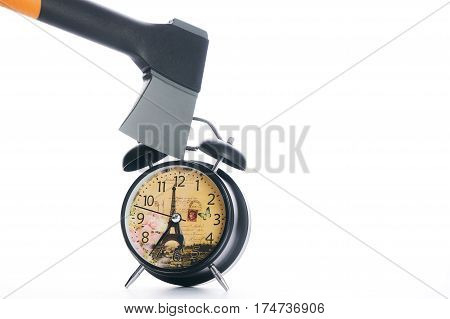 Ax breaking black alarm clock isolated on white background with copy space.
