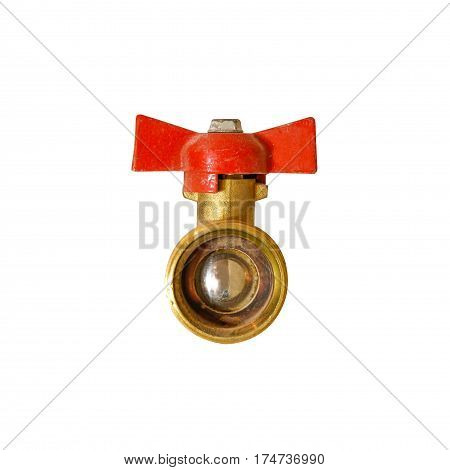 Ball Valve. Gas Valve With Red Handle. Isolated On A White Background.