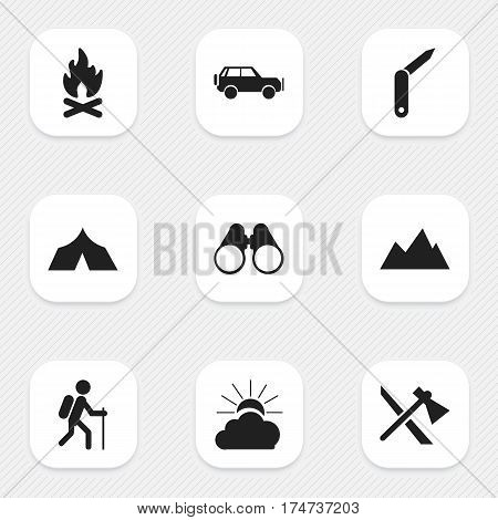 Set Of 9 Editable Camping Icons. Includes Symbols Such As Refuge, Clasp-Knife, Field Glasses And More. Can Be Used For Web, Mobile, UI And Infographic Design.