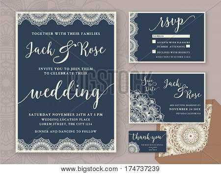 Rustic Wedding Invitation Design Template. Include RSVP card Save the date card thank you tags. Vintage Round Mandala Ornamental. Vector illustration.