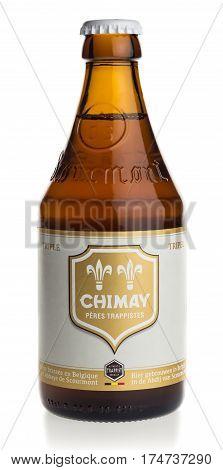 GRONINGEN, NETHERLANDS - FEBRUARY 28, 2017: Bottle of Chimay White Tripel beer isolated on a white background