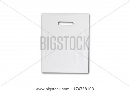 Blank Plastic Bag Mock Up Isolated On White. Empty White Polyethylene Package Mockup. Consumer Pack