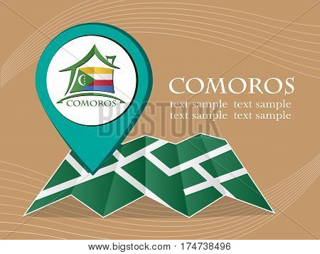 map with pointer flag Comoros vector illustration eps 10.