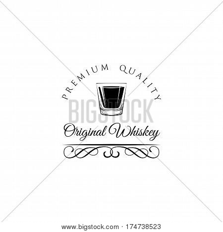 Whiskey Shot Glass. Alcohol badge and label. Vector Illustration isolated on white