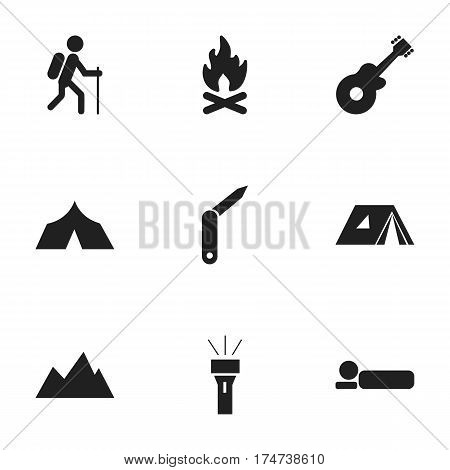 Set Of 9 Editable Travel Icons. Includes Symbols Such As Bedroll, Peak, Fever And More. Can Be Used For Web, Mobile, UI And Infographic Design.