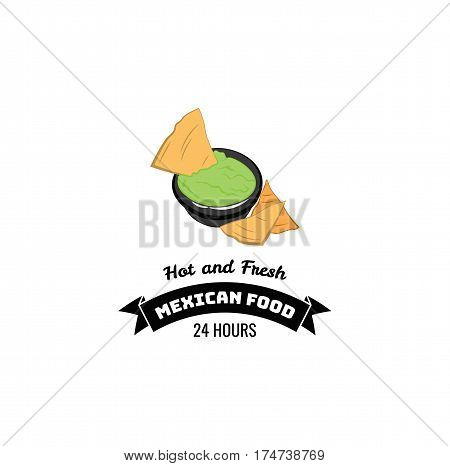 Nachos Mexico Food. Traditional Mexican Cuisine. An Isolated Object. Vector Illustration Isolated On White Background