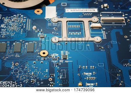 Laptop blue Motherboard chipset with macro closeup