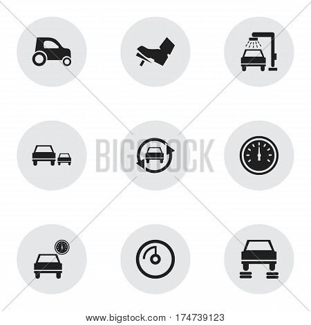 Set Of 9 Editable Vehicle Icons. Includes Symbols Such As Treadle, Vehicle Car, Tuning Auto And More. Can Be Used For Web, Mobile, UI And Infographic Design.